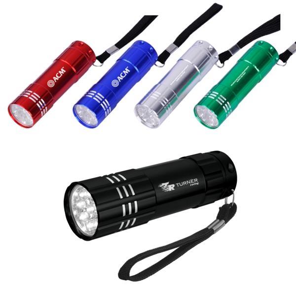 Spectre 9 LED Aluminum Flashlight with Strap