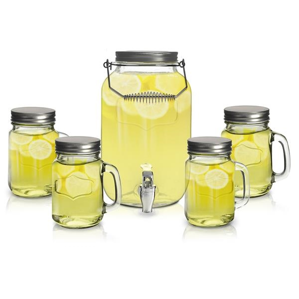 5pc Beverage Dispenser with Jar Mugs and Lids
