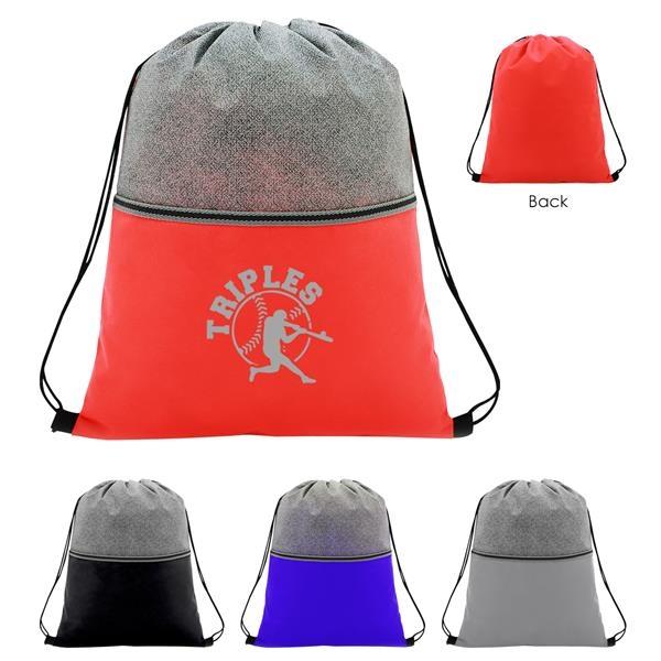 Color Basics Heathered Non-Woven Drawstring Bag