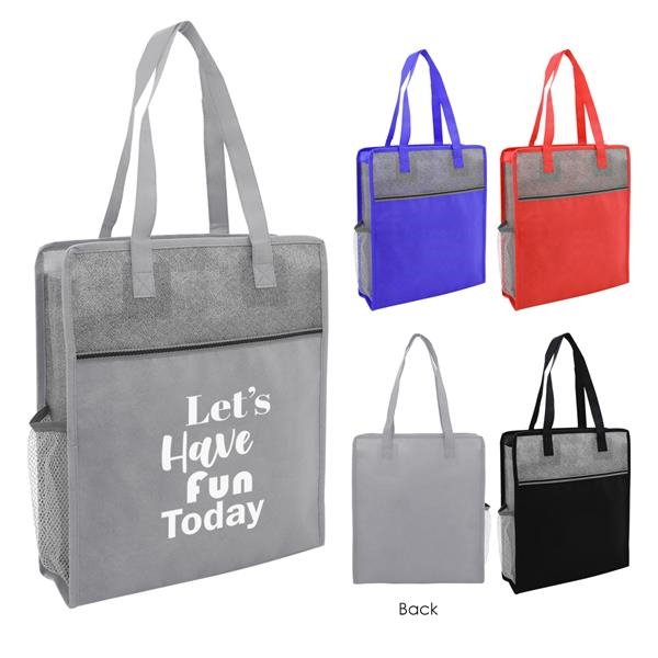 Color Basics Heathered Non-Woven Tote Bag