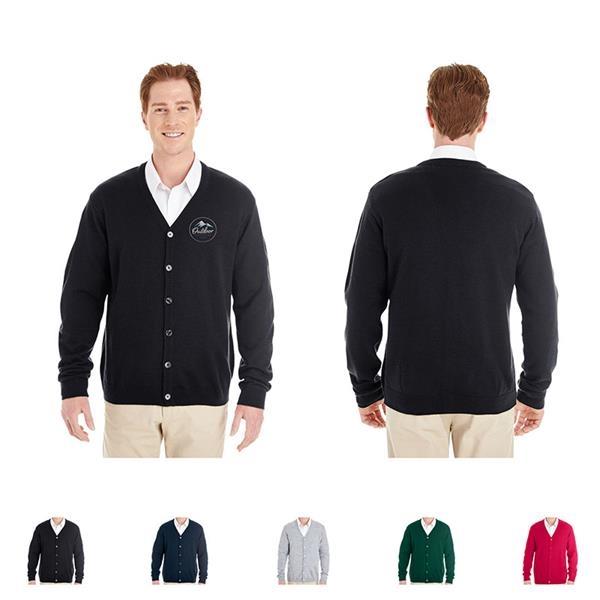 Harriton® Men's Pilbloc™ V-Neck Button Cardigan Sweater
