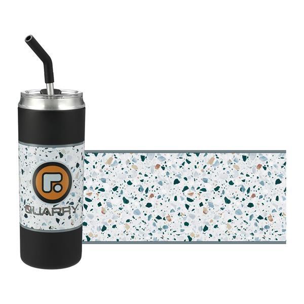 Marka Copper Vacuum Tumbler With White Terrazzo Pattern