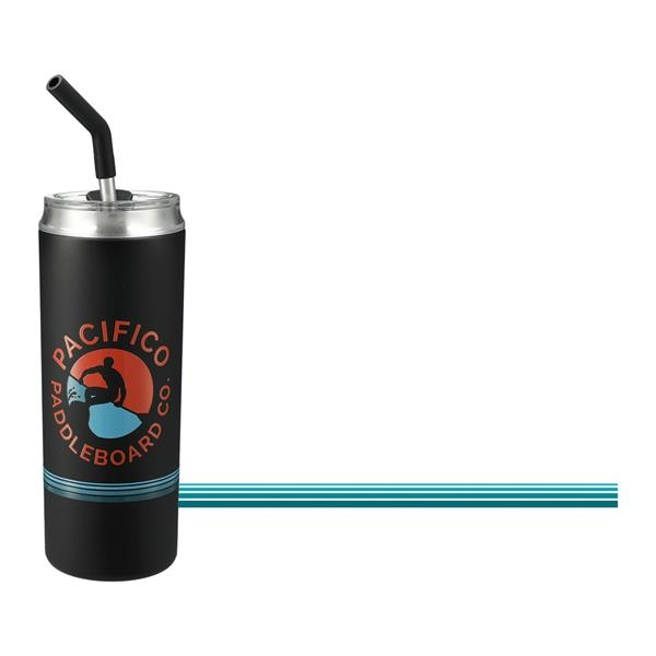 Marka Copper Vacuum Tumbler With Straw & Pinstripe