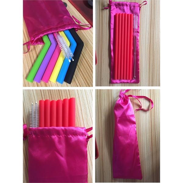 Silicone Straws With Nylon Bag