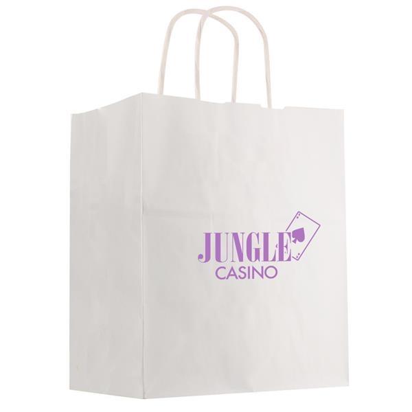 "Kraft Paper White Shopping Bag - 13"" x 17"""
