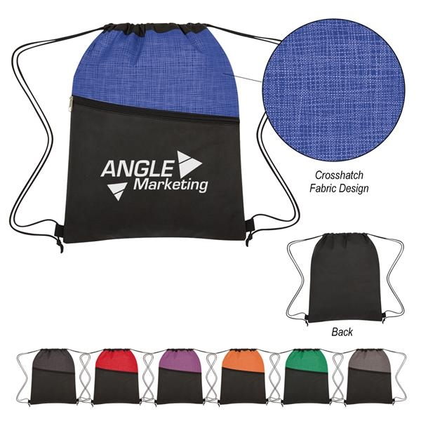 Crosshatch Two-Tone Non-Woven Drawstring Bag