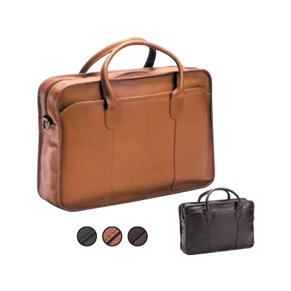 Leather Briefcase With Top Handles And Adjustable, Detachable Shoulder Strap Photo