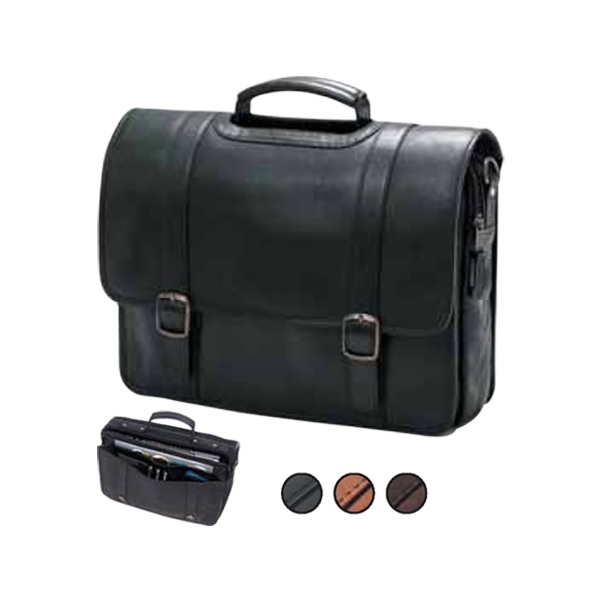 Leather Porthole Flap Briefcase With Adjustable, Detachable Shoulder Strap And Pad Photo