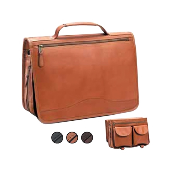 Expandable Leather Briefcase With Full Length Zipper Pocket And Two Front Pockets Photo