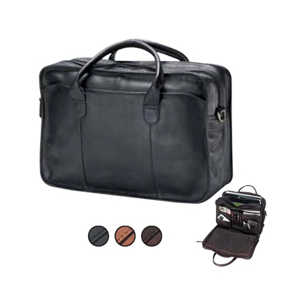 Leather Legal Briefcase With Double Gusset, Top Handle And 2 Exterior Pockets Photo