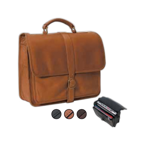 Leather School Bag With Flap With Buckle And Fully Lined Main Compartment Photo