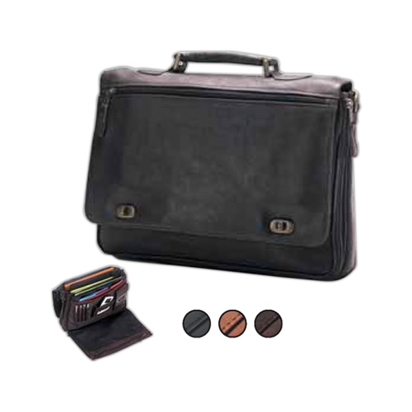 Leather Turn Lock Briefcase With Interior Organizer And Shoulder Strap With Pad Photo