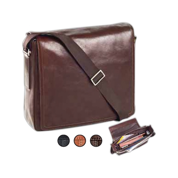 Tuscan - Square Leather Messenger Bag With Adjustable Strap And Flap With Magnetic Closure Photo
