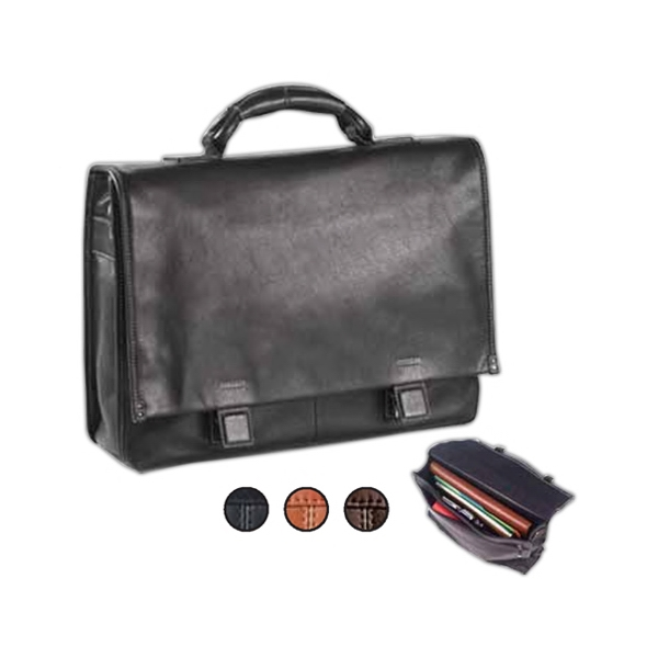 Tuscan - Leather Flap Briefcase With Hidden Slide Buckles And Wrapped Top Handle Photo