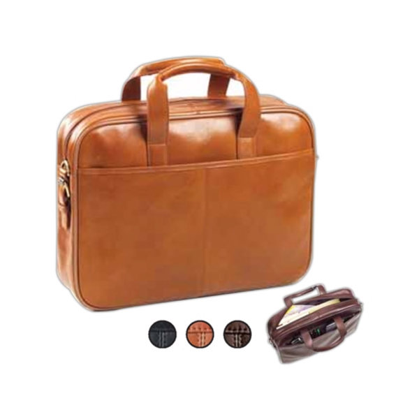Tuscan - Leather Briefcase With Front And Back Full Length Pockets Photo