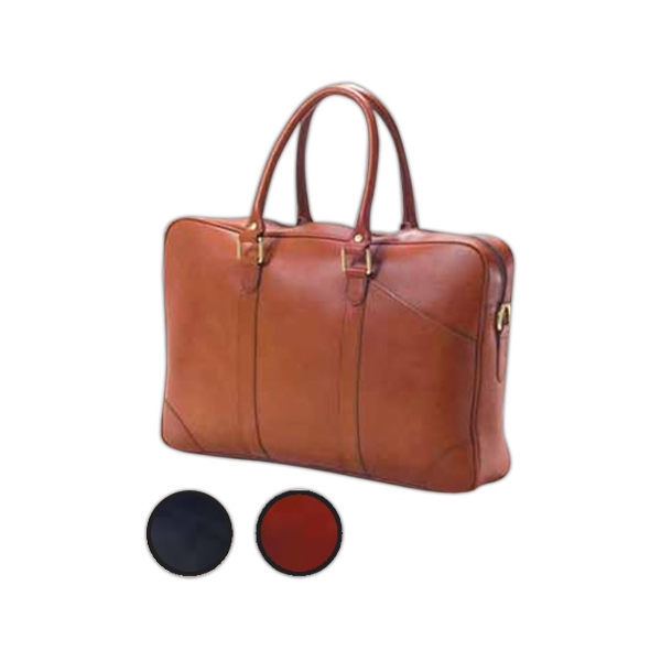 Slim Top Handle Briefcase With Front Slash Ticket Pocket And Shoulder Strap Photo