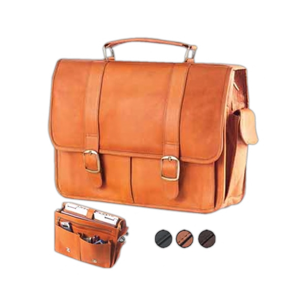 Leather Laptop Briefcase With Hidden Slide Snaps And Adjustable Shoulder Strap Photo
