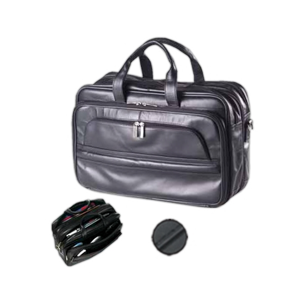 Professional Leather Laptop Briefcase With Back Compartment With Accordion Files Photo