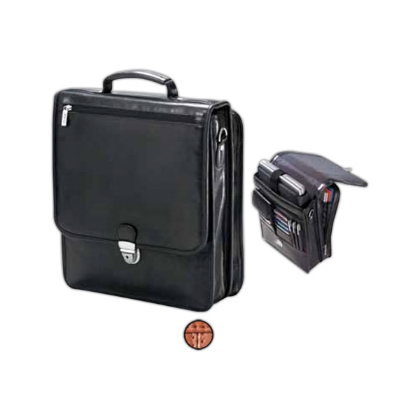 Leather Upright Vertical Briefcase With Laptop Section And Shoulder Strap Photo