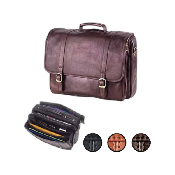 Leather Executive Laptop Briefcase With Accordion Folders And Laptop Pocket Photo