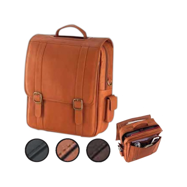 Leather Upright Porthole Briefcase With Hidden Backpack Straps Photo