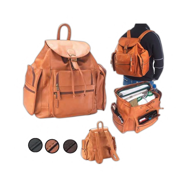 Extra Large Leather Backpack With Interior Pocket, Six Exterior Zipper Pockets Photo