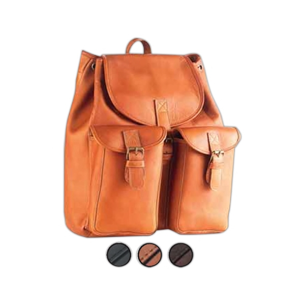 Leather Drawstring Backpack With Two Exterior Pockets With Magnetic Snaps Photo