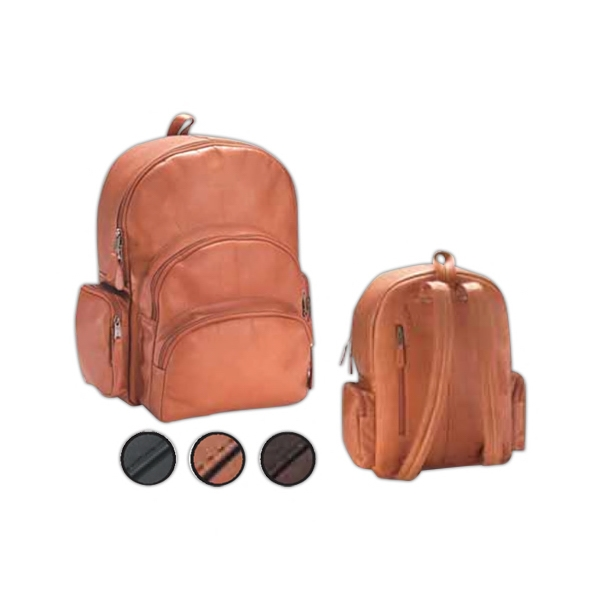 Leather Multi Compartment Backpack With Room For Laptops And Five Zipper Pockets Photo