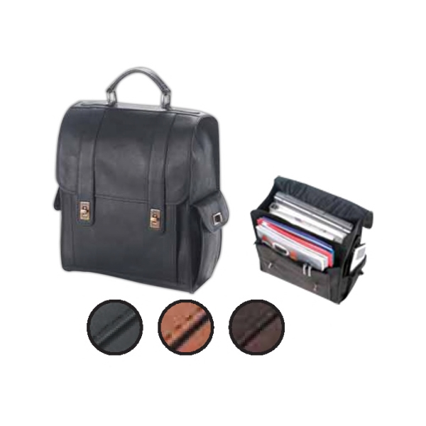 Leather Turn Lock Backpack With Roomy Interior, Top Handle And Shoulder Strap Photo