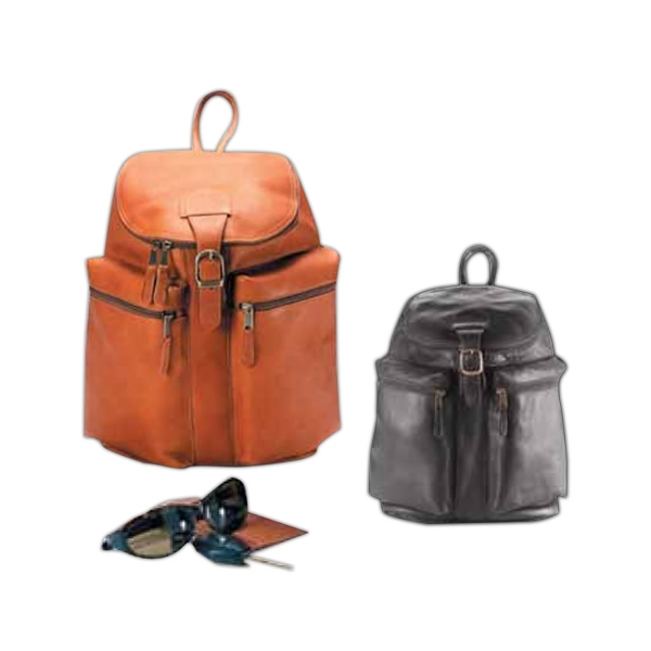 Leather Zip Top Backpack With Two Exterior Zip Pockets And Lightly Padded Straps Photo