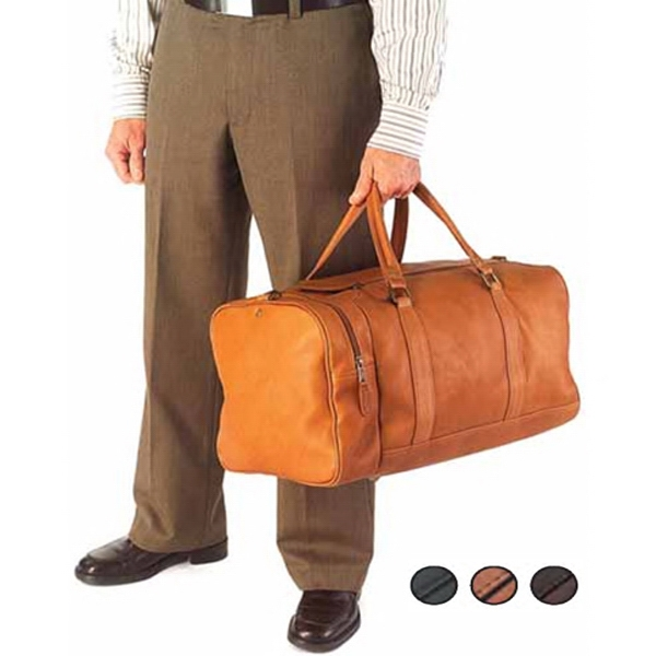 Leather One Pocket Duffel Bag With Fully Lined Main Body And Interior Zipper Pocket Photo