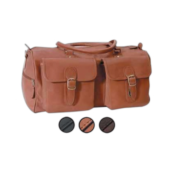 Leather Duffel Bag With Two Pockets And Fully Lined Interior Photo