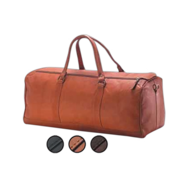 "23"" X 10"" X 10"" - Large Leather Barrel Duffel Bag, Meets Airline Carry On Regulations Photo"