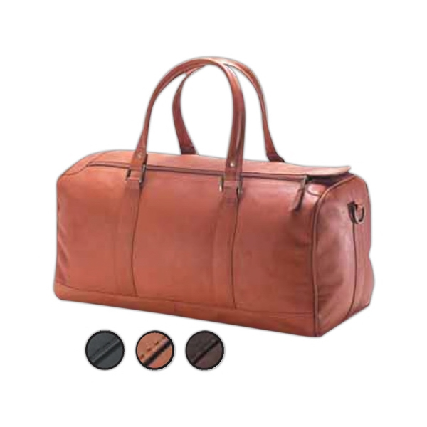 "19"" X 10"" X 10"" - Large Leather Barrel Duffel Bag, Meets Airline Carry On Regulations Photo"