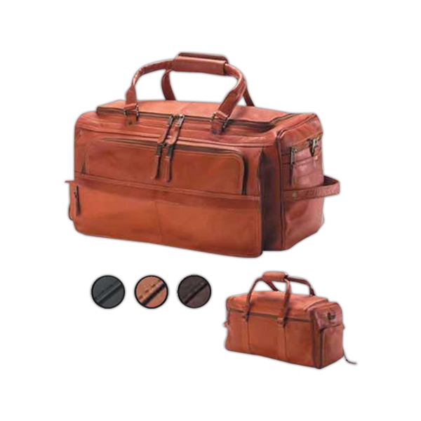 Leather Multi Compartment Duffel Bag With Separate Shoe Compartment Photo