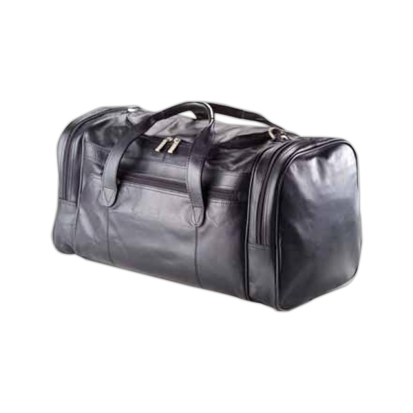 Leather Executive Duffel Bag With Side Zipper Pockets On Each Side Photo