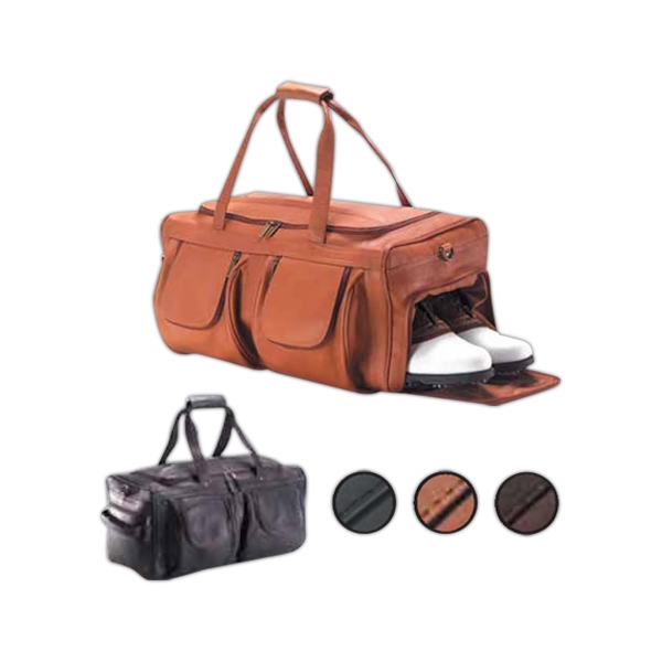 Extra Large, Leather Pocket Duffel With Side Strap, Top Handle And Shoulder Strap Photo
