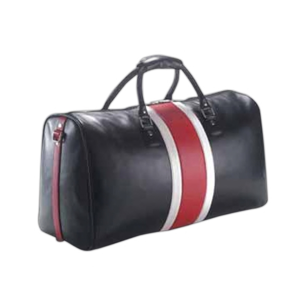 Leather Racing Stripe Duffel Bag With Fully Lined Interior And Shoulder Strap Photo