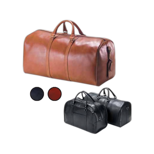 Leather Duffel Bag With Matching Luggage Tag And Key Fob Photo