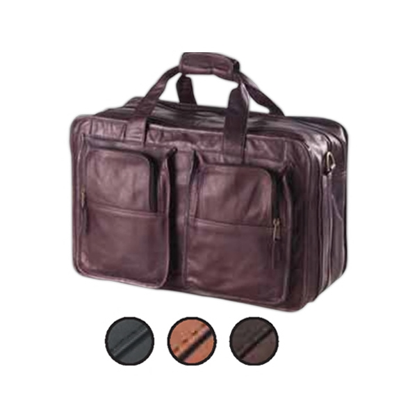 Leather Flight Bag, Roomy With Two Sections And Shoulder Strap With Pad Photo