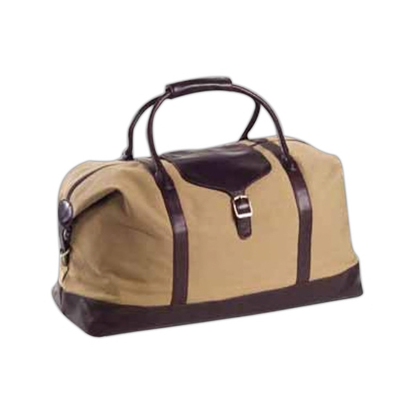 Canvas Overnighter With Leather Trim And Adjustable, Detachable Shoulder Strap Photo