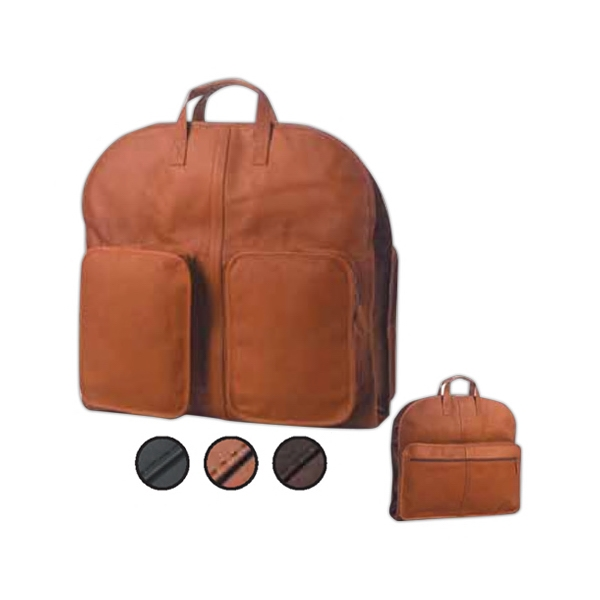 Leather Overnight Garment Bag With Two Brass Snaps To Hold Hangers In Place Photo
