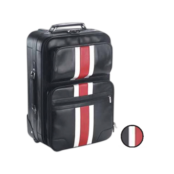 Leather Rolling Bag With Racing Stripe, Telescope Handle And Blade Wheels Photo