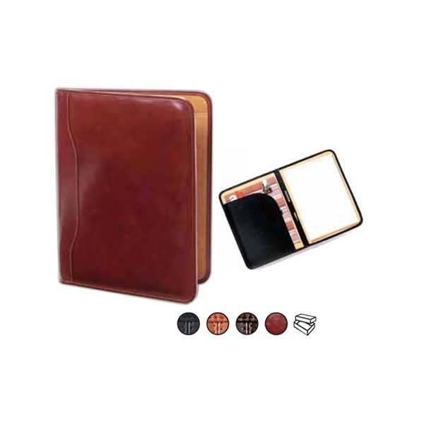 "Slim Leather Padfolio With 8.5"" X 11"" Writing Tablet And Document Pocket Photo"