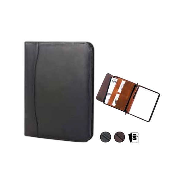 "Quinley - Leather Zip Padfolio With 8.5"" X 11"" Writing Tablet And Full Length Vertical Pocket Photo"