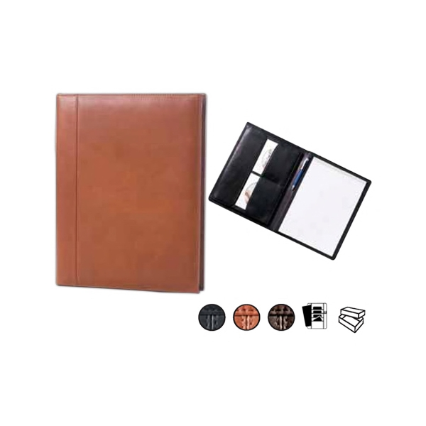 "Traditional Leather Open Padfolio With 8.5"" X 11"" Writing Tablet And Pocket Photo"