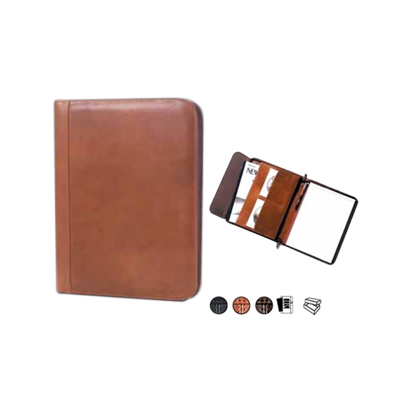 "Leather Zip Padfolio With 8.5"" X 11"" Writing Tablet And Vertical Pocket Photo"