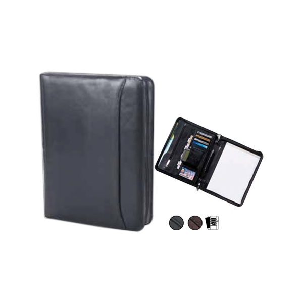 Quinley - Leather Conference Padfolio With Exterior Full Length Vertical Pocket Photo