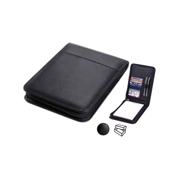 "Leather Vertical Junior Zip Padfolio With 5"" X 7"" Writing Tablet And Organizer Photo"