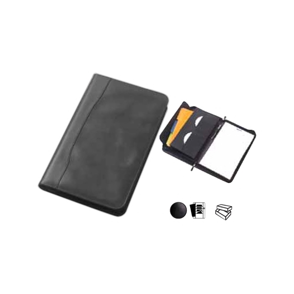 "Legal Size Leather Padfolio With 11"" X 14"" Writing Tablet, Zips Shut Photo"